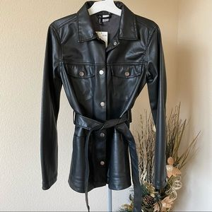 H&M Black Faux Leather Long Jacket in XS